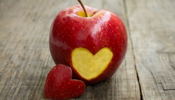 apple with heart cut out of side