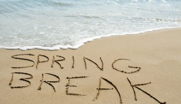 beach with Spring Break written in sand