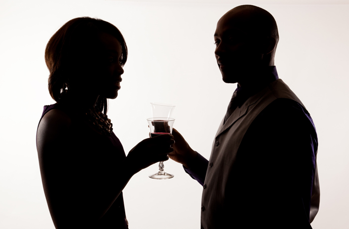 couple drinking wine - silhouette