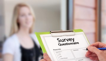survey questionnaire on a clip board