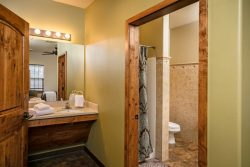 Bathroom with golden wood trim