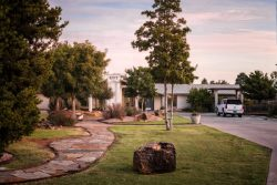 Driveway leading to facility with beautiful landscaping