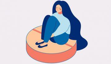 illustration of woman sitting on large pill - benzos