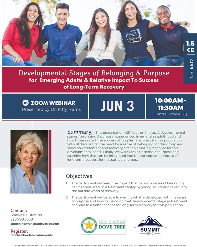 Developmental Stages of Belonging & Purpose for Emerging Adults & Relative Impact To Success of Long Term Recovery